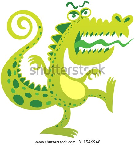 Stock Photo Angry crocodile, with curly tail, bulging eyes, green spotted skin, big mouth and sharp teeth while balancing its body, opening its mouth, sticking its tongue out and yelling in a menacing attitude