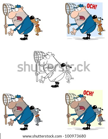 Angry Dog Biting A Dog Catcher. Vector Collection - stock vector