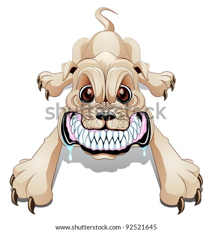 Angry dog growling with mouth wide open