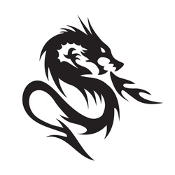 Angry dragon simple vector isolated on white. Fire dragon sign. Mythical creature. Tribal dragon tattoo style.