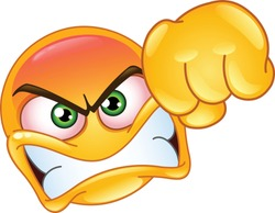Angry emoji emoticon showing a punch fist gesture