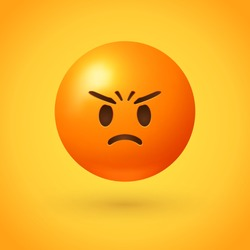 Angry emoji with red face, frowning mouth, eyes and eyebrows scrunched  in anger with furrow lines on forehead - conveys varying degrees of anger, from grumpiness and irritation to disgust and outrage
