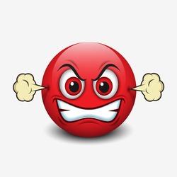 Angry emoticon, emoji, smiley - vector illustration