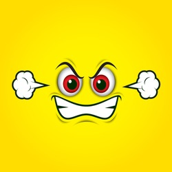 Angry emoticon face isolated on yellow background - vector illustration