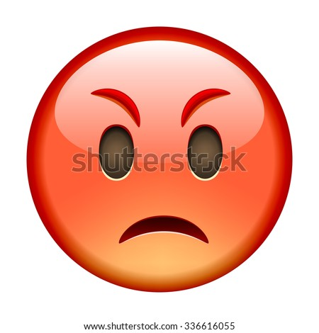 angry emoticon isolated vector