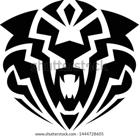 Angry face tiger in flat style on the white background. Simple vector animal in silhouette style for element design. Vector illustration EPS.8 EPS.10