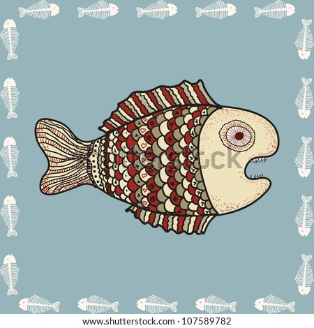 angry fish, vector decorative comic background