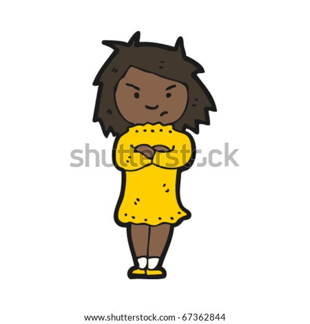 stock vector : angry girl cartoon