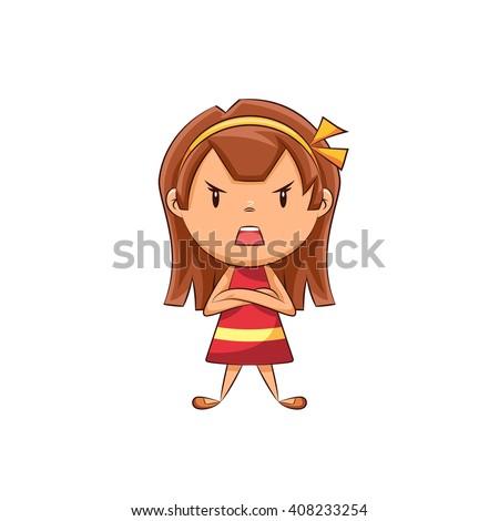 angry girl  vector illustration