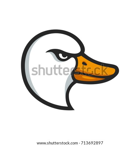Angry goose head illustration in stylized comic style. Sports mascot or logo isolated on white background.