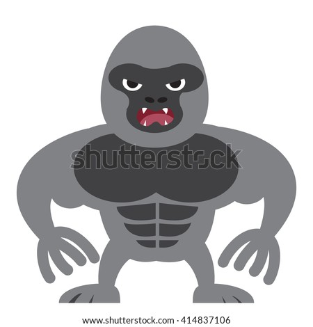 angry gorilla in flat style