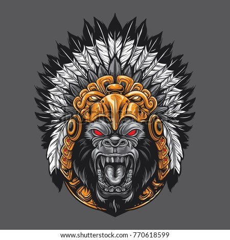 angry gorilla wearing aztec