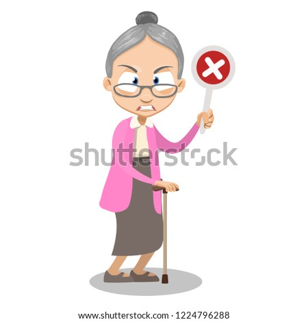 Angry granny holding wrong checkmark. Irate grandma with walking stick cartoon animated personage. Female patient rehabilitation after illness. Old age infirmity and disability vector illustration.