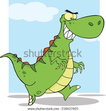 angry green dinosaur character