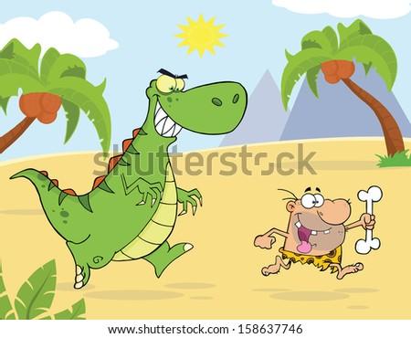 angry green dinosaur chasing a