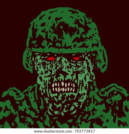 angry green zombie soldier