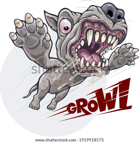 angry growling dog attacks in
