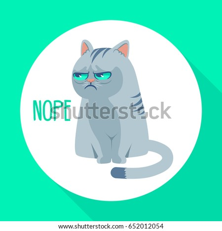 Angry grumpy cat flat vector illustration. Nope kitty on green background