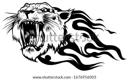 angry head tiger with fire