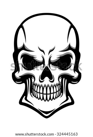 angry human skull with eerie