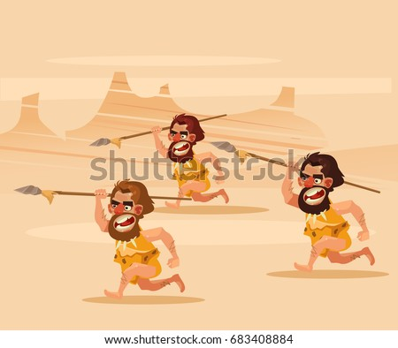 angry hungry primitive cavemen