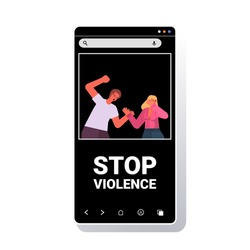 angry husband punching and hitting wife stop domestic violence and aggression against women smartphone screen portrait vector illustration