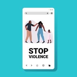 angry husband punching and hitting wife with daughter stop domestic violence and aggression against women smartphone screen mobile app vector illustration
