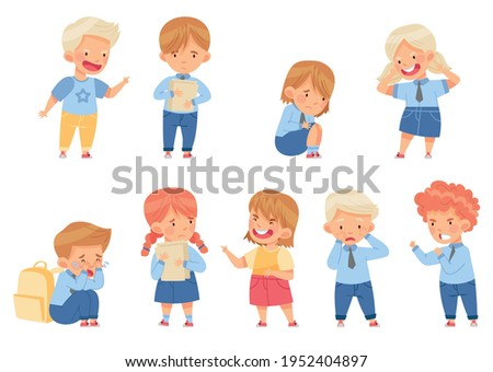 Angry Kids Bullying and Abusing the Weak Agemate Teasing and Laughing at Them Vector Set Stock photo ©