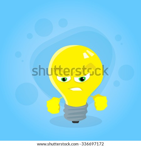 angry light yellow bulb face