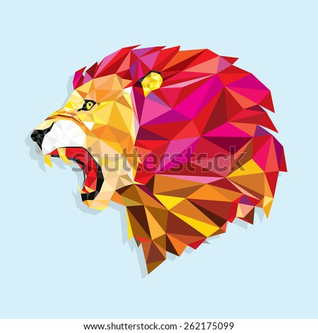 angry lion with geometric