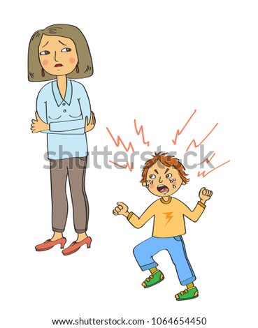 Angry little boy who screams and stomp legs and his sad mother