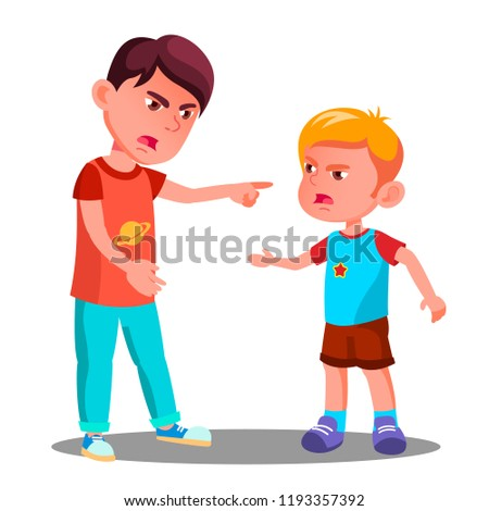 Angry Little Children Argue In Conflict.   Fighting Kids At The Playground Vector. Argue, Abuse People. Isolated Illustration