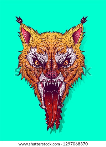 angry lynx with open mouth and blood, tattoo, t-shirt print