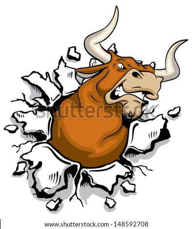 Angry mad bull bursting through wall