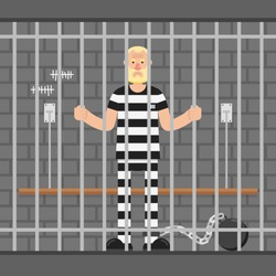 Angry man in prison, standing behind bars in cell. Flat cartoon illustration.