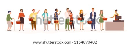 Angry men and women standing in line or queue to cashier in retail store or supermarket. People waiting in grocery shop isolated on white background. Colored vector illustration in flat cartoon style