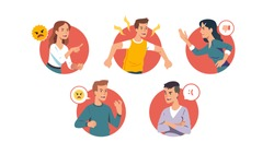 Angry men & women yelling, swearing, fighting set. Indignant furious people with aggressive faces expressing anger, shouting, gesturing, arguing, threatening. Conflict problem flat vector illustration