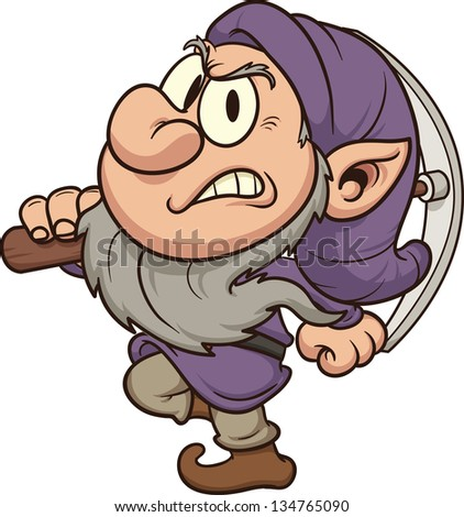 Angry miner dwarf Vector clip art illustration All in a single layer