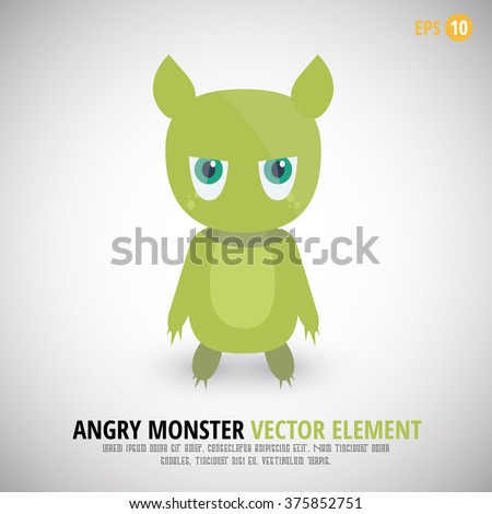 angry monster with cute face