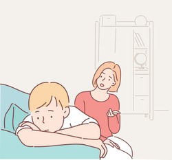 Angry mother is scolding at her son. Family conflict. Hand drawn style vector design illustrations.