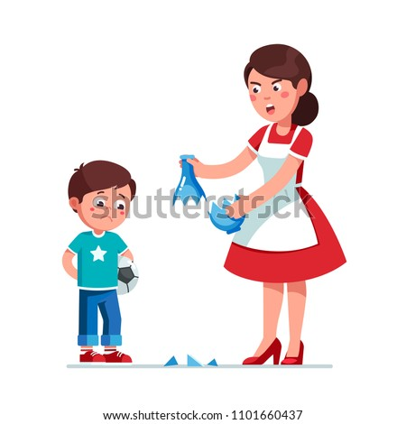 Angry mother scolding sad preschool son kid for breaking vase while playing soccer. Upset guilty boy kid holding soccer ball. Parenting & misbehavior. Flat style vector illustration isolated on white