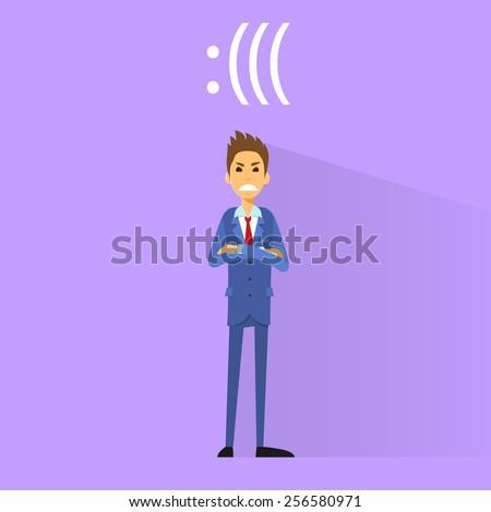 angry negative emotion business man flat design vector illustration
