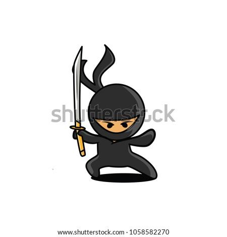 Stock Photo Angry Ninja Hold a Sword Vector Illustration