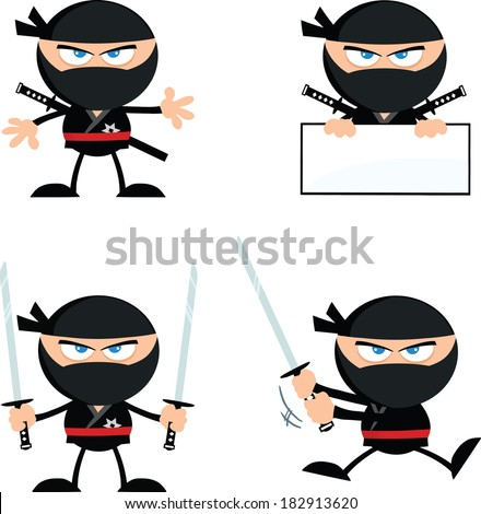 angry ninja warrior  cartoon