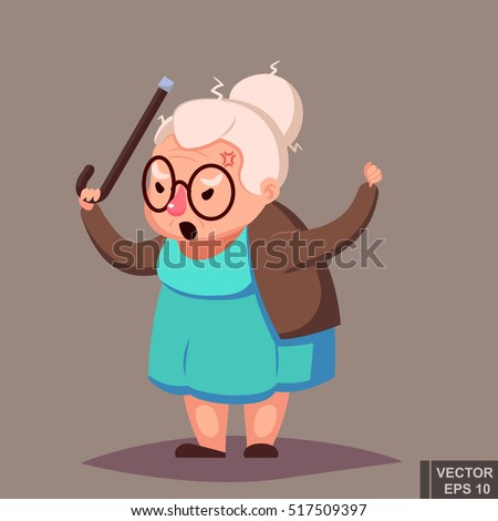 angry old woman brandishing her