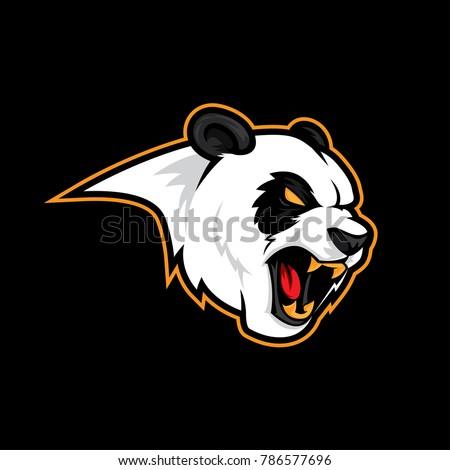 Angry panda roar vector logo mascot