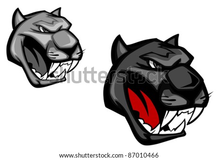 Angry panther or puma for mascot design isolated on white background, such a logo. Rasterized version also available in gallery