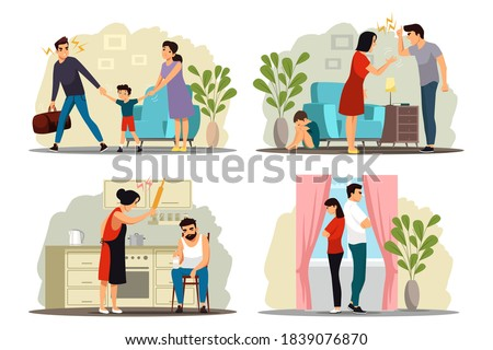 Angry people in family conflict set. Woman and man shouting, screaming, yelling, fighting, thinking of divorce, child crying. Unhappy marriage vector illustration. Domestic quarrels. Stock photo ©