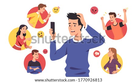 Angry people men, women bullies send aggressive messages & bully sad disturbed guy. Harassing victim read messages on cell phone suffering from cyber bullying. Harassment problem vector illustration