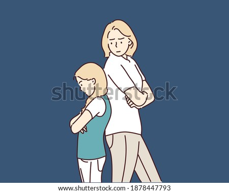Angry people. Mother and daughter in quarrel. sad adult female and baby girl. Hand drawn style vector design illustrations.